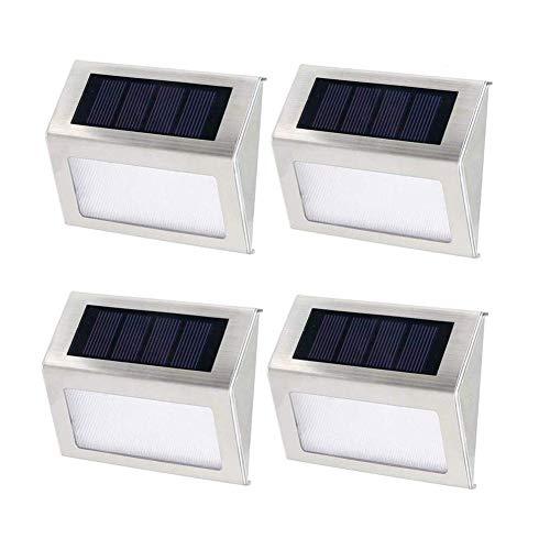 KAIKUN Solar Wandleuchte Solarleuchte Tisch Solar Zaunpfosten Lichter Gartenzaun Lichter solarbetrieben Zaun-Solarlichter für Garten 4pcs,warm
