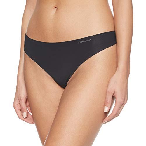 Calvin Klein String Invisibles Ropa Interior, Negro 001, S para Mujer