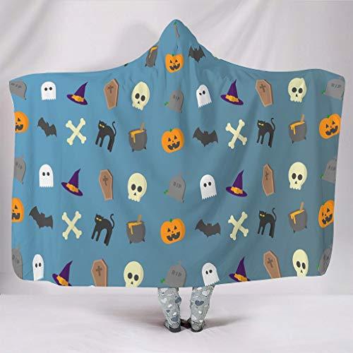 Manta con capucha para Halloween, fantasma, gato negro, calabaza, murciélago, multifunción, manta para dormir, manta de felpa, colcha de diseño estampado, 130 x 150 cm, color blanco