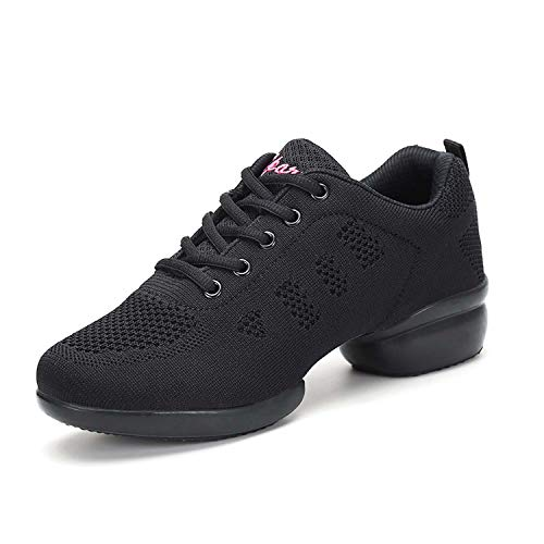 Women s Jazz Shoes Lace-up Sneakers Breathable Mesh Modern Dance Shoes Split Sole Athletic Walking Dancing Shoes Lady Platform Dance Training Sneakers for Jazz Zumba Ballet Folk Balck 40 Black