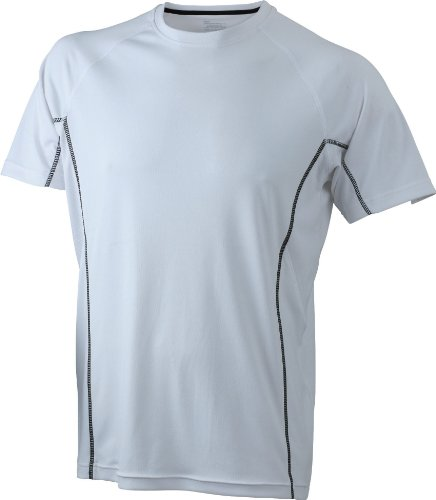 JAMES & NICHOLSON Running Reflex-T T-Shirt, Blanc (White/Black), (Taille Fabricant: Medium) Homme