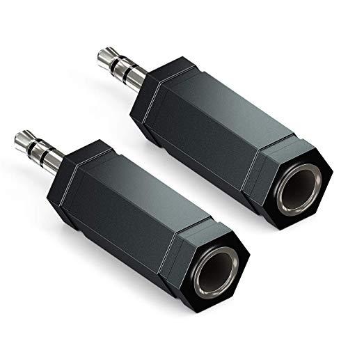 deleyCON 2X Adaptador de Conector de Estéreo Audio 3,5mm Macho a 6,3mm Jack Adaptador Convertidor HiFi Jack Adaptador de Enchufe Receptor de Cine en Casa Auriculares