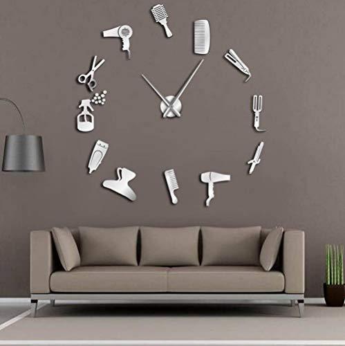 JOKLIPS DIY Toolkit Barber Shop Riesenwanduhr mit Spiegeleffekt Barber Dekorative rahmenlose Wanduhr Friseur Friseur Wandkunst-47_inch