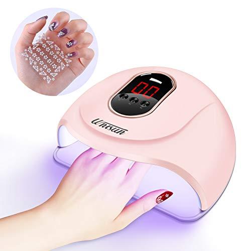 UV LED Lampe für Gelnägel,Unisun 54w Nageltrockner für Gel Nagellack,Professionelle Nagellampe in Salonqualität, mit 3 Timern, Auto-Sensor, Nagelwerkzeuge für Fingernagel und Zehennagel(Rosa)