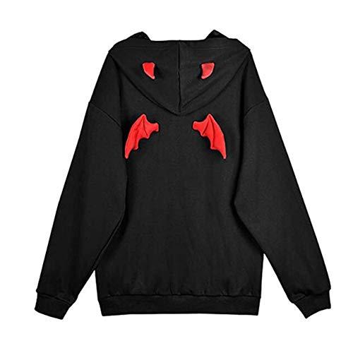 Yiyu Frauen Teufel Flügel-Mit Kapuze Sweatshirt Beiläufige Lose Lange Hülsen Kapuzenpulli Pullover-Oberseiten x (Color : Black, Size : L)