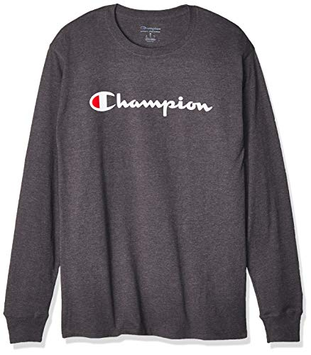 Champion Men's Classic Graphic Long Sleeve TEE, Granite Heather, X Large