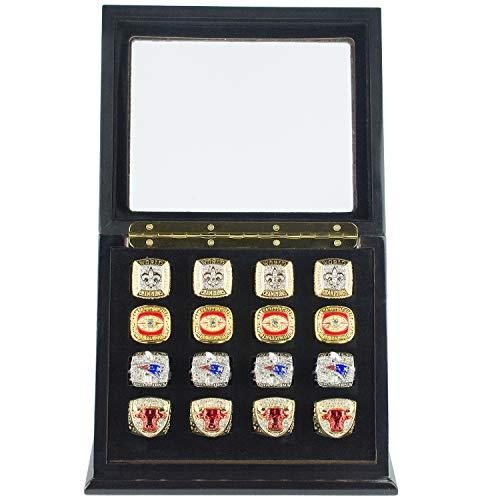 RECHIATO Championship Ring Display Case Sports Ring Storage Box Wooden Black Velvet Lining (16 Slots, Slanted)