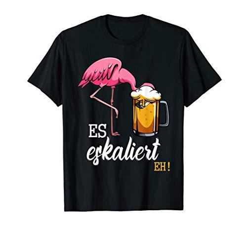 Es Eskaliert Eh Flamingo Bier Disko Festival Party Lustig T-Shirt