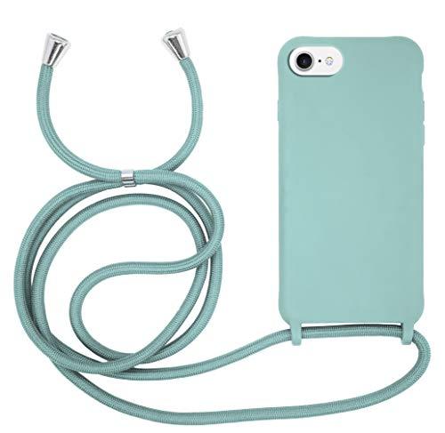 MyGadget Funda con Cordón para Apple iPhone 6 / 6s / 7/8 / SE 2020 Carcasa Cuerda en Silicona TPU Rigida Case y Correa para Llevar en el Cuello Verde Menta
