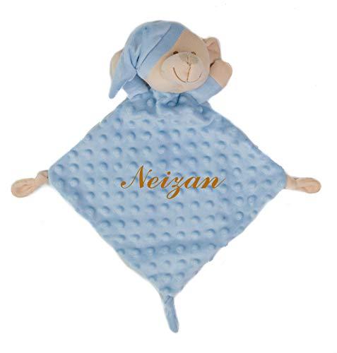 Doudou Personalizado - Bordado con el Nombre del bebé. Varios Modelos y Colores Disponibles (Oso Azul)