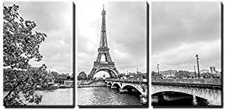 wall26 - 3 Piece Canvas Wall Art - Paris Eiffel Tower from Seine. Cityscape in Black and White - Modern Home Decor Stretched and Framed Ready to Hang - 24