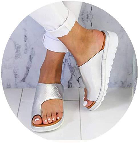JXILY Mujeres Cómodas Sandalias Corrector De Juanetes Ortopédico para Mujeres Zapatos Ortopédicos De Corrección De Pie De Dedo Gordo Corrector De Juanetes Ortopédico Sandalias,Plata,39