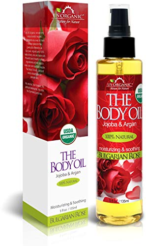 US Organic Body Oil - Romantic Sexy Bulgarian Rose- Jojoba and Argan Oil with Vitamin E, USDA Certified Organic, No Alcohol, Paraben, Artificial Detergents, Color or Synthetic perfumes, 5 Fl.oz.