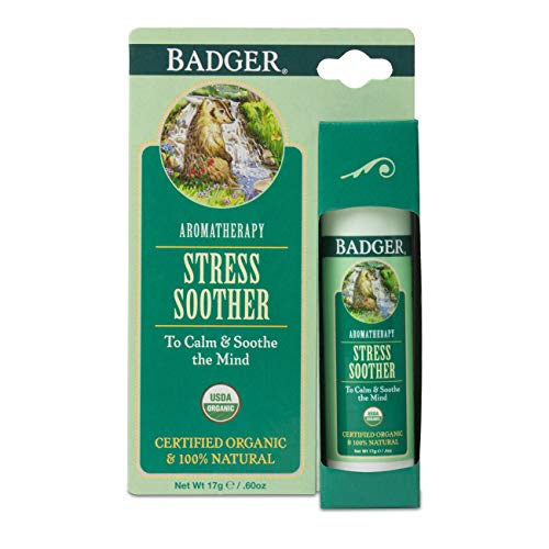 Badger - Stress Soother Balm, Aromatherapy Balm Stick, Certified Organic, Aromatherapy Oil, Essential Oil Roller, 0.6 oz