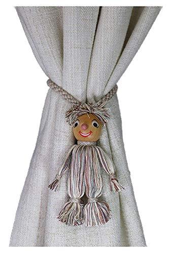 Porschen Raffhalter für Kinder- Zimmer Gardinenhalter Vorhanghalter Gardinenschmuck Puppen Kinder Raffhalter gedrehte Kordel Baumwolle Holz Handarbeit