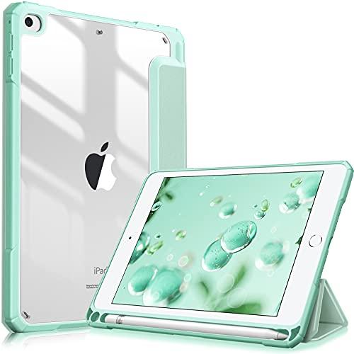Fintie Hybrid Hülle Kompatibel mit iPad Mini 5 2019 / iPad Mini 4 7,9 Zoll - [Eingebauter Stifthalter] Stoßfeste Abdeckung mit Transparent Klar Hartschalen Rückseite Schutzhülle, Grün