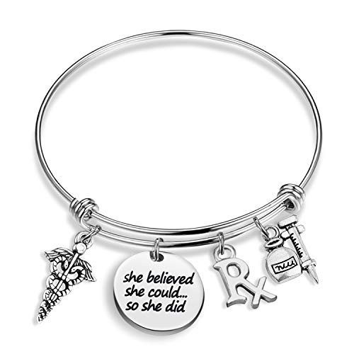 Pulsera farmacéutica RX She Believe She Could RX Symbol Work Drum Charm Pulsera inspiradora regalo de graduación (she believe RX BR)