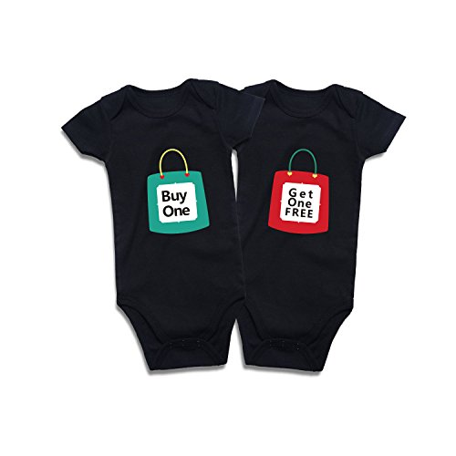 Twins Baby Bodysuits Clothes Boys Girls Short Sleeve Outfits (Black 01, 0-3 Months)