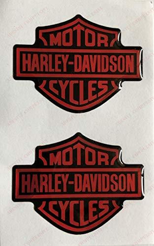 Stemma logo decal HARLEY DAVIDSON, coppia adesivi resinati, effetto 3D. Per SERBATOIO o CASCO. Nero Arancio