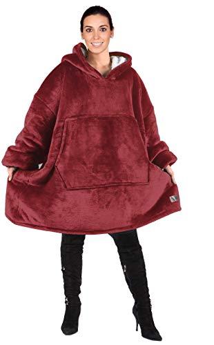 Kato Tirrinia Übergroße Sherpa Hoodie Sweatshirt Decke, Weiche Warme Riesen Hoodie Fronttasche Giant Plüsch Pullover Decke mit Kapuze for Erwachsene Männer Frauen Teenager-Studenten, Weinrot