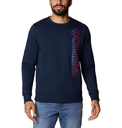 Columbia Logo Fleece Crew, Sweatshirt, Sun Protection, Collegiate Navy/Bluestone Vertical Spli, 3X Tall