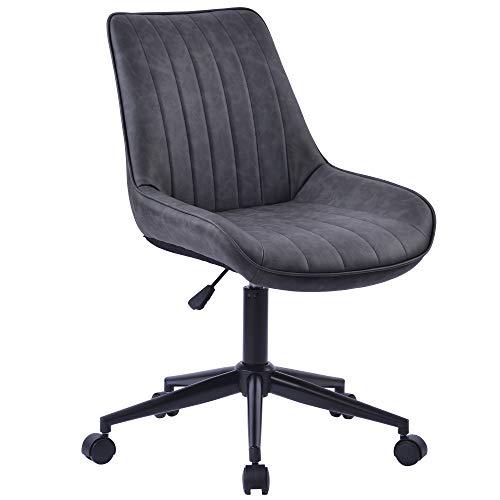 Bürostuhl 360° Drehstuhl aus Kunstleder PU Leder gepolsterter verdicktes Sitzkissen höhenverstellbar Schreibtischstuhl Ergonomischer Arbeitsstuhl PC Computer (Grau)