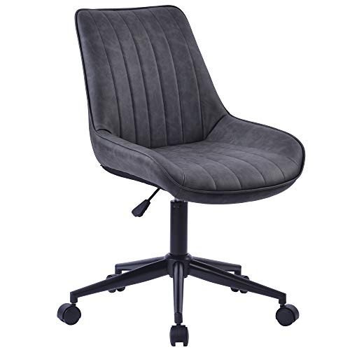 Bürostuhl 360° Drehstuhl aus Kunstleder PU Leder gepolsterter verdicktes Sitzkissen höhenverstellbar Schreibtischstuhl Ergonomischer Arbeitsstuhl PC Computer (grau) (Grau)