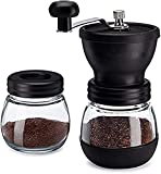 Manual Coffee Bean Grinder with Ceramic Conical Burr Mill, 2 Glass Jars Ceramic Burr, for Drip Coffee, Turkish Brew, Espresso, French Press, Home Travel or Camping (Black)