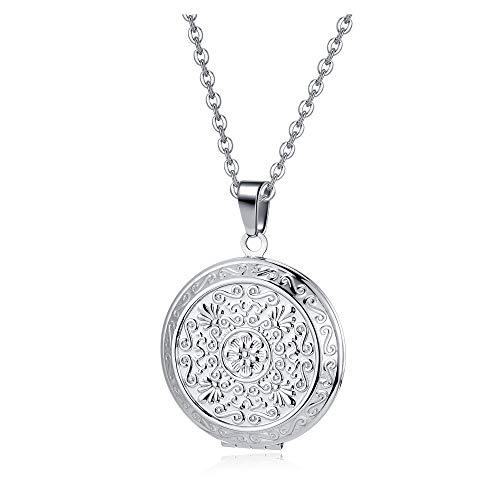 Jovivi Collar con medallón para mujer con colgante portafotos que se puede abrir, modelo flor del árbol de la vida, de acero inoxidable, vintage, plateado, regalo para niñas,