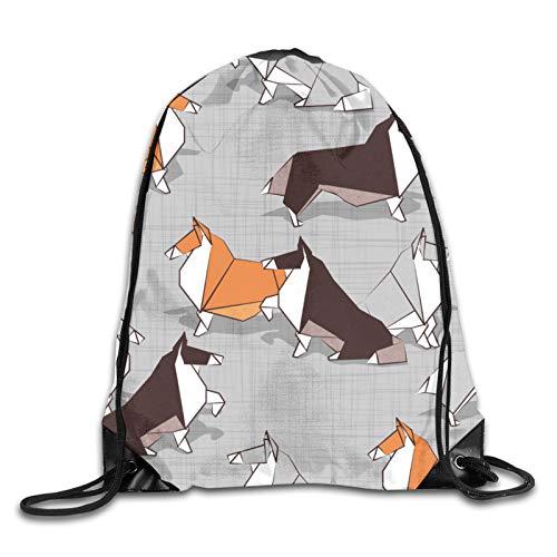 Nother Origami Collie Friends - Mochila con cordón para perro, color gris, blanco, naranja y marrón