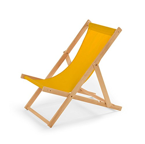 IMPWOOD Gartenliege aus Holz Liegestuhl Relaxliege Strandstuhl (Gelb)