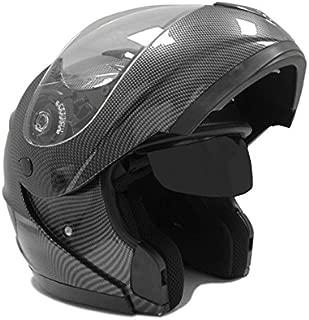 MMG Motorcycle Modular Full Face Helmet Flip-Up Dual Visor DOT Street Legal, XXL, Carbon Fiber