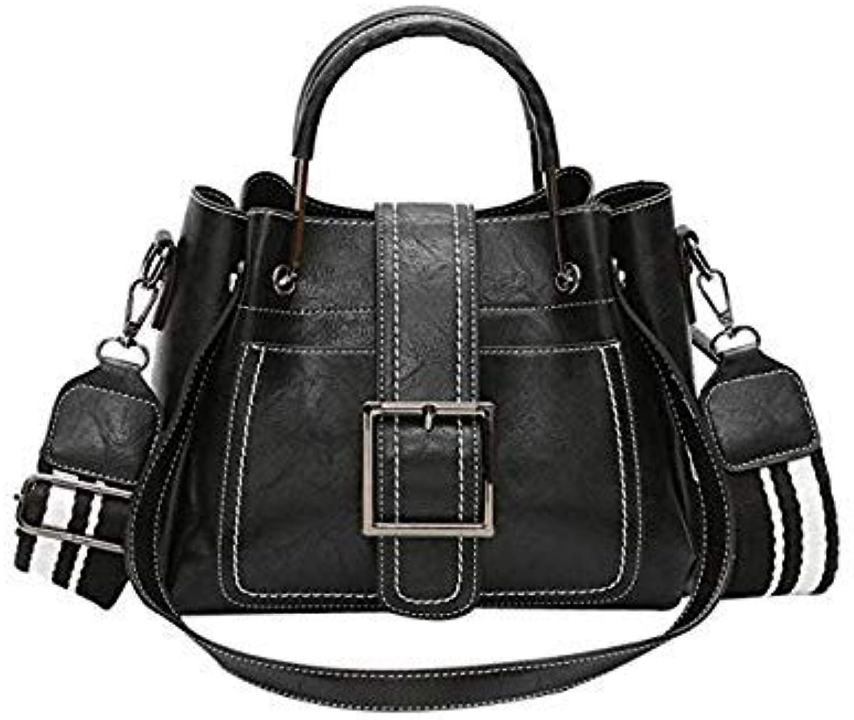 Bloomerang OCARDIAN Retro Tote Bag Women's Leather Shoulder Bags with Corssbody Bag&Handbag Messenger Bag Women's Drop Shipping X0821 30 color Black