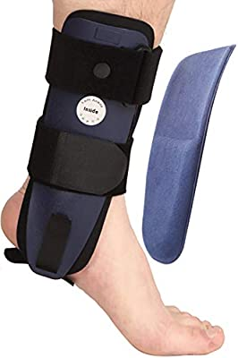 Velpeau Ankle Brace - Stirrup Ankle Splint - Adjustable Rigid Stabilizer for Sprains, Tendonitis, Post-Op Cast Support and Injury Protection for Women and Men (Foam Pads, Large - Left Foot)