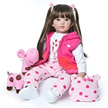24 inch Beautiful Reborn Toddlers Dolls Princess Girl with Long Hair Real Life Baby Doll Soft Cuddle Doll for Christmas with Gift Box Set