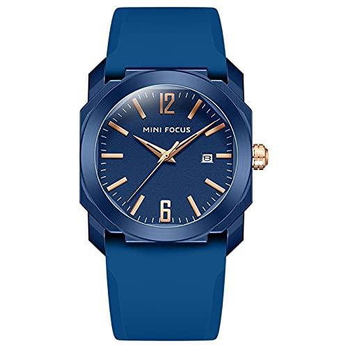 JTTM Reloj De Cuarzo para Hombre De Negocios De Moda con Cronógrafo Impermeable De Correa De Silicona para Hombre, Fecha Automática,Azul