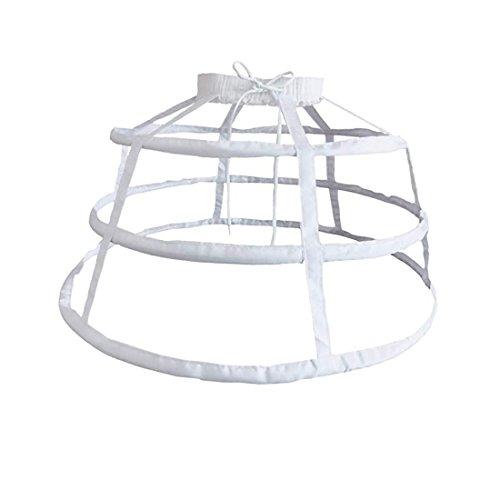 MAYSONG Women's Hoop Skirt Cage Skirt Overskirt Bustle Petticoat Crinoline White