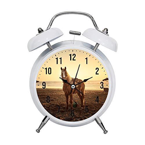 PGTASK Despertador infantil retro con manecillas silenciosas, reloj despertador, mesa de noche, decoración de caballo sobre arena