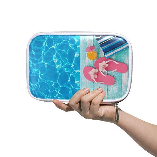 Bolsa de viaje cosmética Summer Pool Sandalias rosadas junto a la piscina...