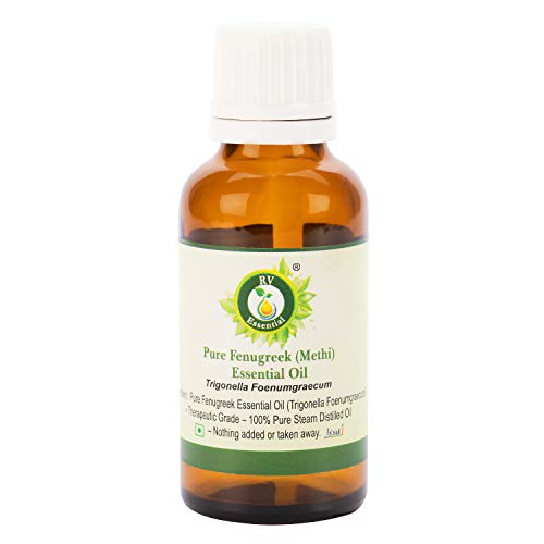 R V Essential Aceite esencial de fenogreco (Methi) puro 10ml (0.338oz)- Trigonella Foenumgraecum (100% puro y vapor natural destilado) Pure Fenugreek (Methi) Essential Oil
