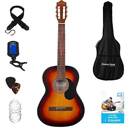 Guitarra clásica Stretton Payne de tamaño completo 4/4 (99 cm), paquete de guitarra acústica clásica de estilo español con cuerdas de nailon. Paquete de guitarra acústica Natural Sunburst