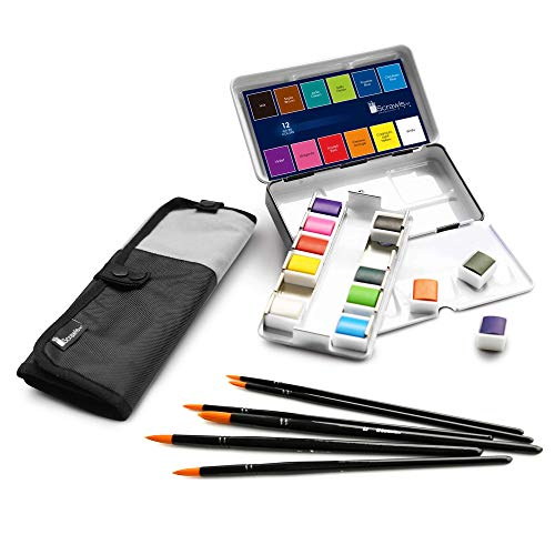 Scrawls Art Watercolor Paint, Set of 12 Assorted Vibrant Colors in Half Pans and 6 Watercolor Brushes into a Comfortable Canvas Case. This is a Great Watercolor Paint Set for Artists on The go