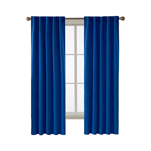 Deconovo Blackout Curtain Panels for Kids Bedroom Room Darkening Back Tab and Rod Pocket Curtains 42x72 Inch Royal Blue 2 Panels