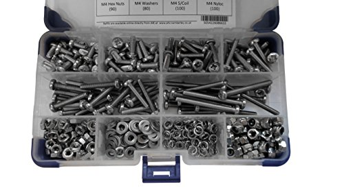 Ahc K-10052 - Acciaio inox pan pozi viti macchina a2 m3 3 mm fissati con dadi e rondelle (965 pezzi)