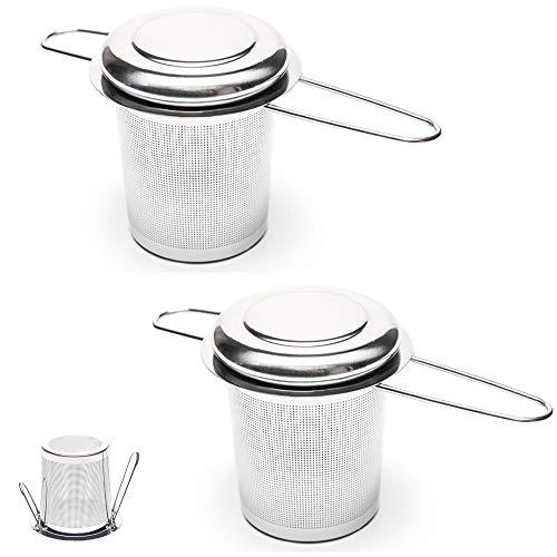 Valporia 2 Pcs Tea Infuser for Loose Tea Tea Strainer Fine Mesh Basket Stainless Steel