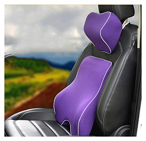 QSWL Lumbar Support Cushion, Back Support For Office Chair Lumbar Support For Office Chair,Car Neck Pillows Back Support, Lumbar Support For Car (Color : Purple, Size : 43x39x12.5cm)