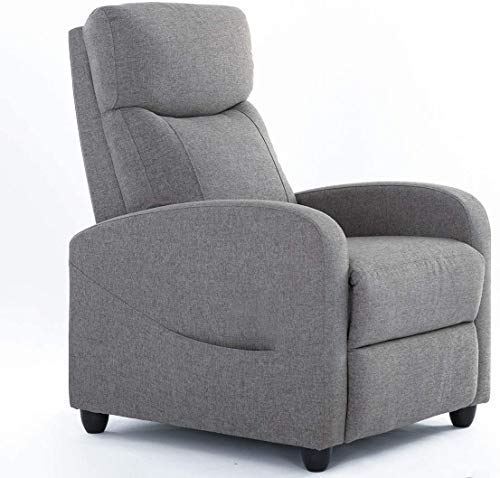 Recliner Chair Living Room Fabric Armchair, Home Theater Seating Reading Watching TV Modern 160°...