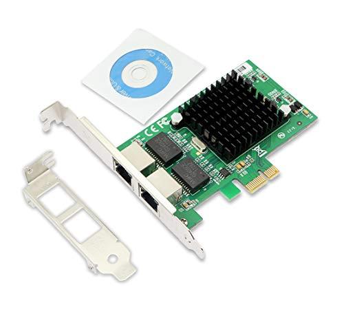 CERRXIAN PCIe X1 Dual 10/100/1000 Gbps Ethernet para servidor (chipset Intel 82575), convertidor de adaptador LAN RJ45 para PC de sobremesa con soporte de perfil bajo