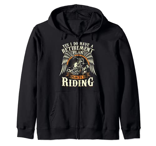 Retirement Plan To Go Riding Gift Motorcycle Riders Biker Zip Hoodie