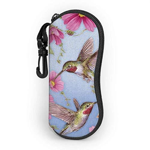 Kolibri-Brille mit rosa Sonnenbrille, weiches Etui für Damen und Herren, ultraleicht, tragbares Brillenetui mit Karabiner
